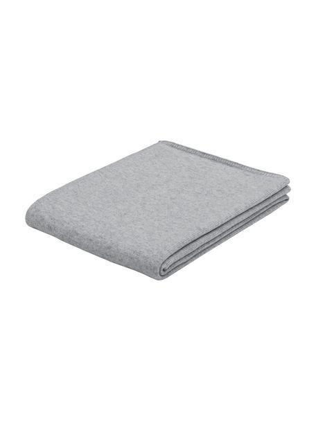 Coperta in cashmere grigio chiaro finemente lavorato Viviana, 70% cashmere, 30% lana merino, Grigio chiaro, Larg. 130 x Lung. 170 cm