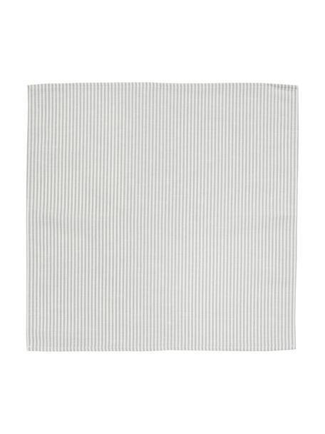 Stof-servetten strepen van halflinnen, 6 stuks, Wit, grijs, 45 x 45 cm