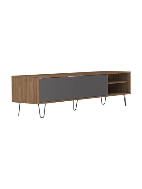 Mobile TV basso con anta a ribalta Aero, Piedini: metallo verniciato, Legno di noce, grigio, Larg. 165 x Alt. 44 cm