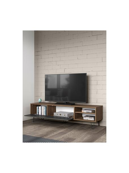 Mueble TV de diseño Aero, Estructura: aglomerado, recubierto de, Patas: metal pintado, Nogal, gris, An 165 x Al 44 cm