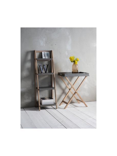 Ladderrek Lomborg, Frame: natuurlijk eikenhout, Eikenhoutkleurig, grijs, 43 x 136 cm