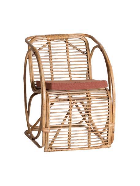 Silla de ratán Hidra, con cojín, Estructura: ratán, Tapizado: tela, Beige, rojo, An 60 x Al 78 cm