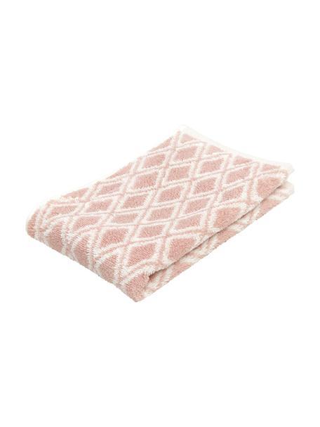Asciugamano reversibile con motivo grafico Ava, 100% cotone, qualità media 550g/m², Rosa, bianco crema, Asciugamano per ospiti
