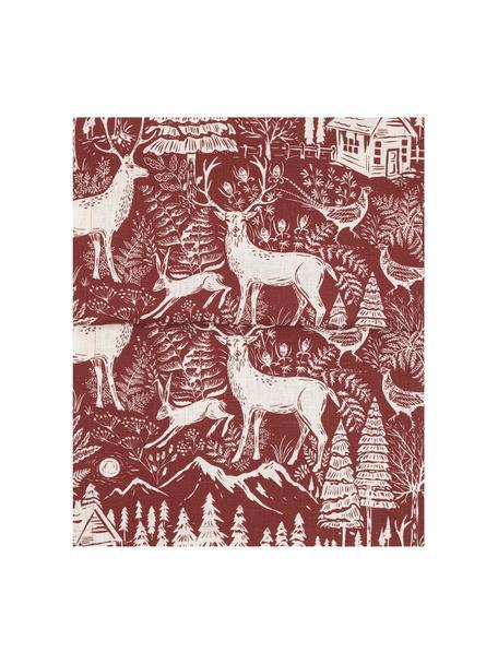 Runner con motivo invernale Forest, 85% ramiè, 15% cotone, Rosso, crema, Larg. 40 x Lung. 145 cm