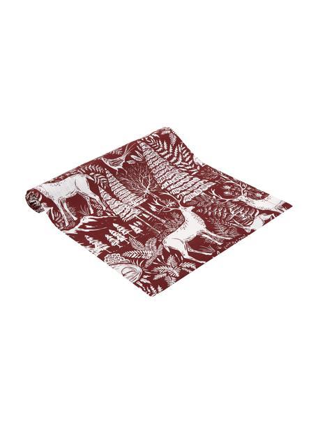 Camino de mesa Forest, 85%ramio, 15%algodón, Rojo, crema, An 40 x L 145 cm