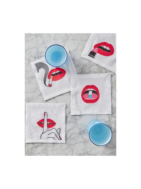 Set 4 tovaglioli in lino Muzzy, Lino, Bianco, rosso, nero, Larg. 15 x Lung. 15 cm