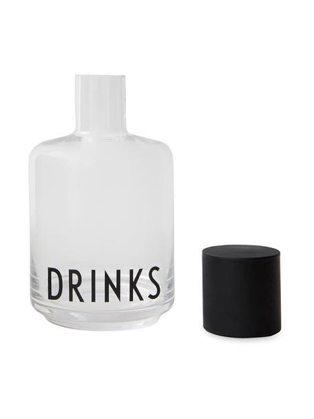 Design glazen karaf Drinks met opschrift, 500 ml, Deksel: siliconen, Transparant, zwart, H 18 cm