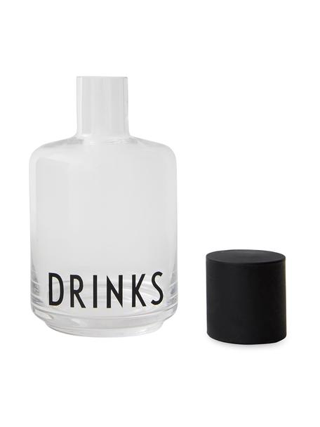 Jarra de vidrio de diseño Drinks, 500ml, Transparente, negro, Al 18 cm