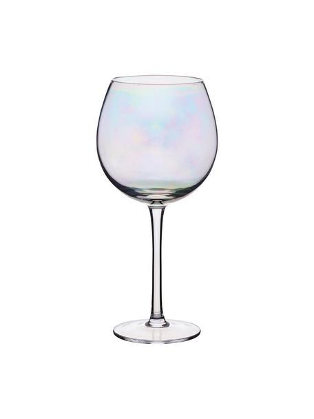 Rode wijnglazen Iridescent met parelmoer glans, 2 stuks, Glas, Transparant, Ø 9 x H 22 cm