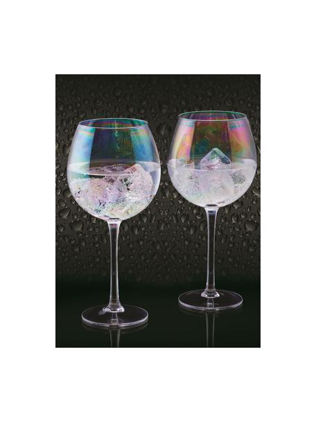 Rode wijnglazen Iridescent met paarlemoer glans, 2er-set, Glas, Transparant, Ø 9 x H 22 cm