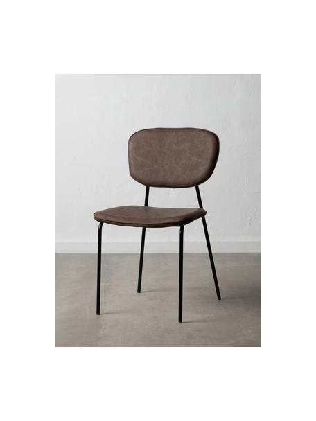 Krzesło tapicerowane ze sztucznej skóry Iskia, Tapicerka: sztuczna skóra (95% polie, Stelaż: płyta wiórowa, Nogi: metal, Brązowy, czarny, S 54 x G 49 cm