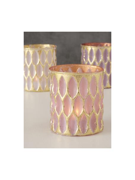 Teelichthalter-Set Renuka, 3-tlg., Glas, lackiert, Rosatöne, Ø 8 x 9cm