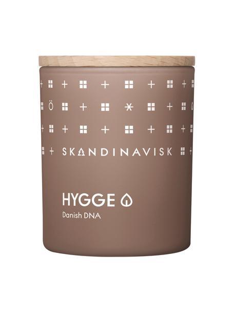 Geurkaars Hygge (zwarte thee, muntblaadjes, gedroogde appel), Houder: glas, Deksel: berkenhout, Doos: karton, Bruin, 6 x 8 cm