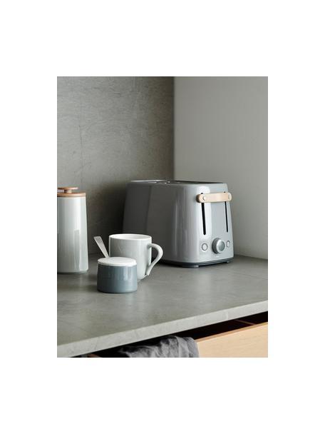 Toaster Emma in Grau glänzend, Griff: Buchenholz, Grau, 20 x 20 cm