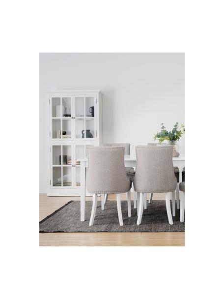 Glasvitrine Lorient in Weiß mit Türen, Kiefernholz, lackiert, Mitteldichte Holzfaserplatte (MDF), Weiß, 95 x 185 cm