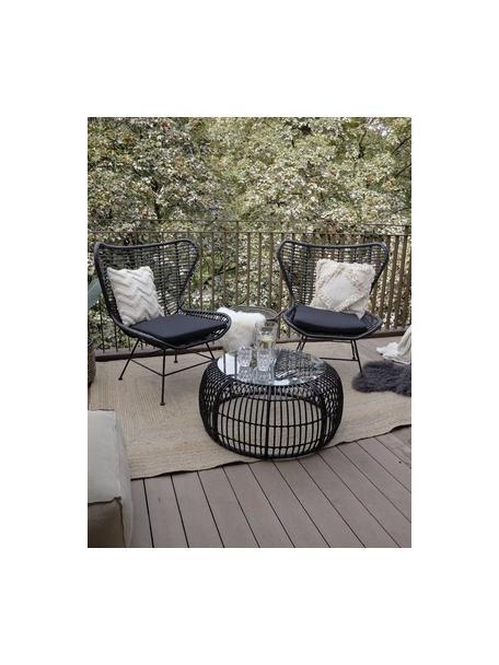 Fotel uszak z polirattanu Costa, Stelaż: metal malowany proszkowo, Czarny, S 90 x G 89 cm