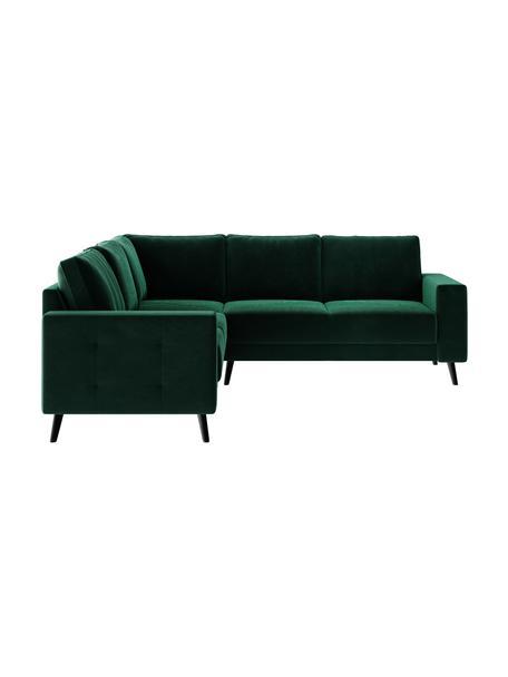 Sofa narożna z aksamitu Fynn, Tapicerka: 100% aksamit poliestrowy, Stelaż: drewno liściaste, drewno , Nogi: drewno lakierowane Dzięki, Ciemny zielony, S 234 x G 234 cm