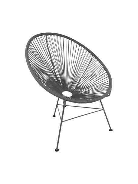 Fotel wypoczynkowy ze splotu z tworzywa sztucznego Bahia, Tworzywo sztuczne: szary Stelaż: szary, S 81 x G 73 cm