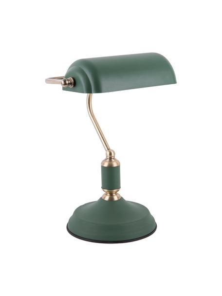 Retro tafellamp Bank van metaal, Lampenkap: gecoat metaal, Lampvoet: gecoat metaal, Groen, 27 x 34 cm