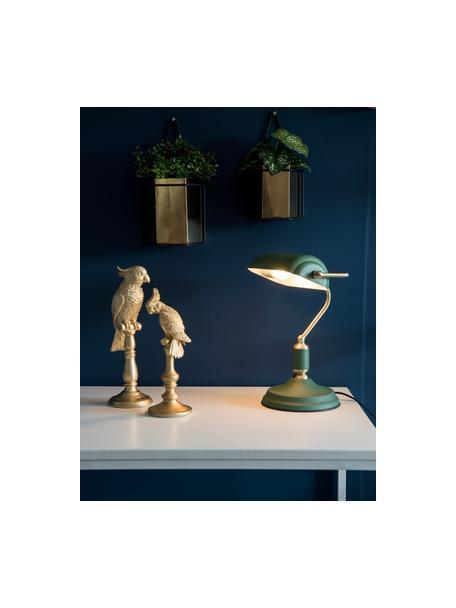 Lámpara de escritorio pequeña de metal Bank, estilo retro, Pantalla: metal recubierto, Cable: plástico, Verde, An 27 x Al 34 cm