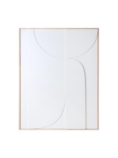 Decorazione da parete con cornice a rilievo Betido, Struttura: legno di frassino, Bianco, marrone chiaro, Larg. 100 x Alt. 123 cm