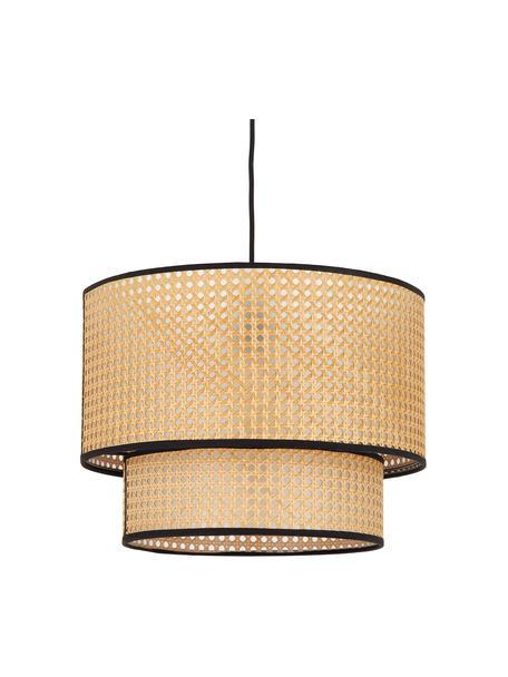 Lámpara de techo con tejido vienés Vienna, Pantalla: plástico, Anclaje: metal con pintura en polv, Cable: tela, Beige, negro, Ø 40 x Al 30 cm