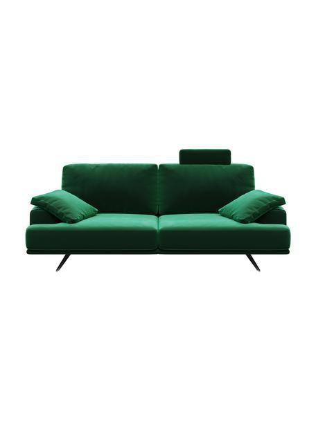 Divano 2 posti in velluto verde scuro Prado, Rivestimento: 100% velluto di poliester, Sottostruttura: compensato, legno di fagg, Piedini: metallo verniciato, Verde scuro, Larg. 220 x Alt. 107 cm