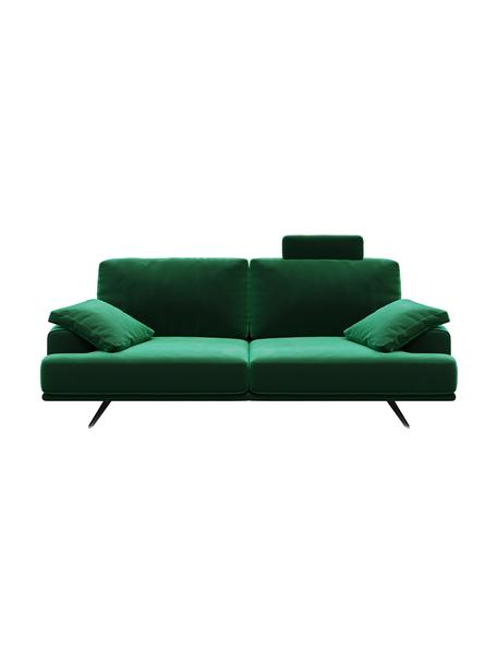 Sofá de terciopelo Prado (2plazas), Tapizado: 100%terciopelo de poliés, Patas: metal pintado, Verde oscuro, An 220 x F 107 cm
