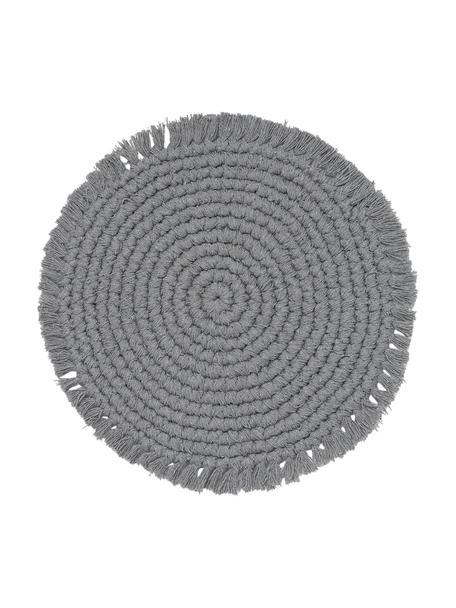 Ronde placemat Vera met franjes, 100% katoen, Grijs, Ø 38 cm