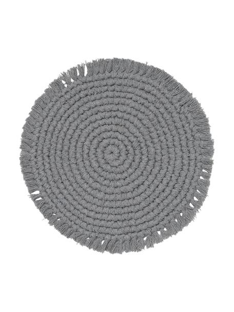 Tovaglietta americana rotonda in cotone con frange Vera, 100% cotone, Grigio, Ø 38 cm