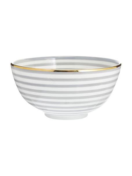 Insalatiera fatta a mano stile marocchino con bordo oro Couleur, Ø 25 cm, Ceramica, Grigio chiaro, crema, oro, Ø 25 x Alt. 12 cm