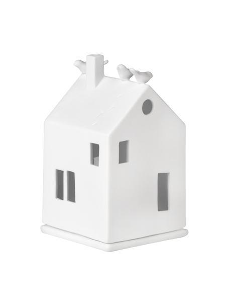 Porseleinen waxinelichthouder Living in wit, Porselein, Wit, 7 x 13 cm