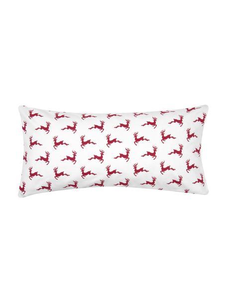 Flanell-Kissenbezüge Rudolph mit Rentieren, 2 Stück, Webart: Flanell Flanell ist ein k, Rot, Ecru, 40 x 80 cm