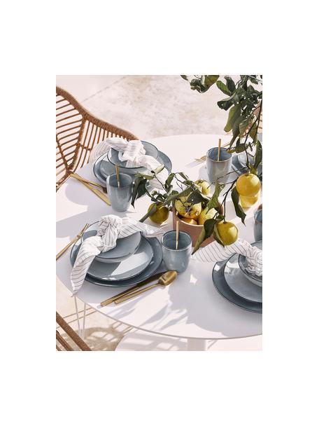 Handgemaakte keramische bekers Thalia in blauwgrijs, 2 stuks, Keramiek, Blauwgrijs, Ø 9 x H 11 cm