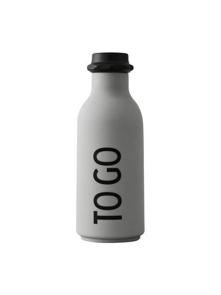 Bottiglia di design azzurra con scritta TO GO, Coperchio: polipropilene, Azzurro opaco, nero, Ø 8 x Alt. 20 cm