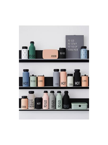 Design thermosfles TO GO in grijs met opschrift, Fles: tritan (kunststof), BPA-v, Deksel: polypropyleen, Mat lichtblauw, zwart, Ø 8 x H 20 cm