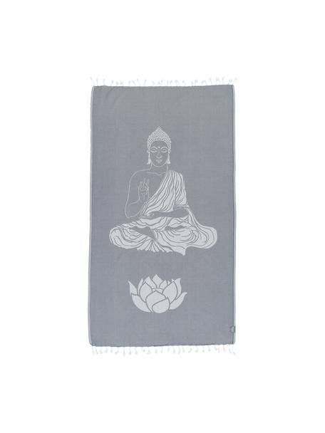 Telo fouta in cotone Buddha, 100% cotone Qualità leggera, 180g/m², Grigio, bianco latteo, Larg. 90 x Lung. 180 cm