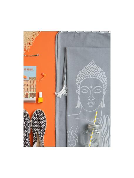 Hamamtuch Buddha, 100% Baumwolle, leichte Qualität, 180 g/m², Grau, Gebrochenes Weiss, 90 x 180 cm