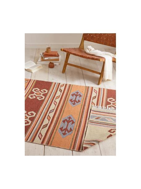 Kelim vloerkleed Tansa in ethnostijl van katoen, 100% katoen, Oranje, multicolour, B 70 x L 140 cm (maat XS)