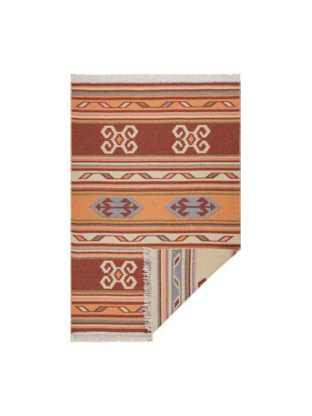 Kelimteppich Tansa im Ethno-Style aus Baumwolle, 100% Baumwolle, Orange, Mehrfarbig, B 70 x L 140 cm (Größe XS)