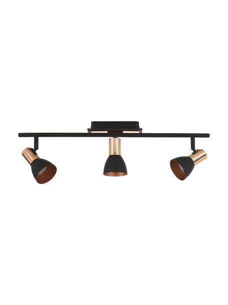 Faretti da soffitto neri Solaris, Paralume: acciaio verniciato, Attacco: nero, rame Paralume esterno: nero, Larg. 60 cm