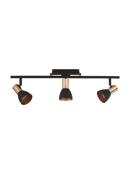 Plafondspot Solaris in zwart, Lampenkap: staal, gelakt, Bevestiging: zwart, koper. Lampenkap buitenzijde: zwart, B 60 cm