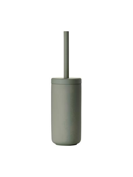 Toilettenbürste Ume mit Steingut-Behälter, Behälter: Steingut überzogen mit So, Griff: Kunststoff, Eukalyptusgrün, Ø 10 x H 39 cm