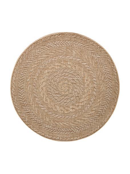 Alfombra redonda de interior/exterior Almendro, 100%polipropileno, Beige, marrón, Ø 160 cm (Tamaño L)
