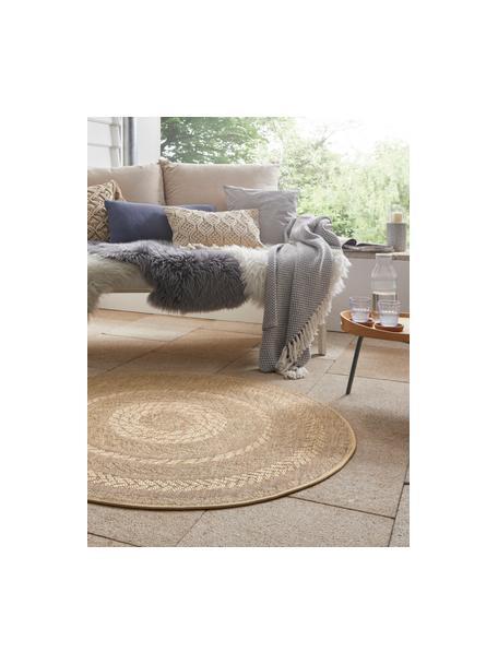 Runder In- & Outdoor-Teppich Almendro in Jute Optik, 100% Polypropylen, Beige, Braun, Ø 160 cm (Grösse L)