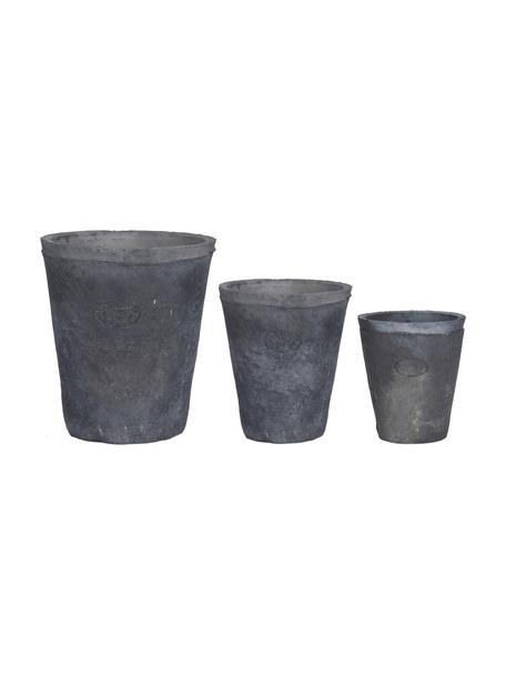 Set 3 portavasi Laura, Terracotta, Grigio, Set in varie misure