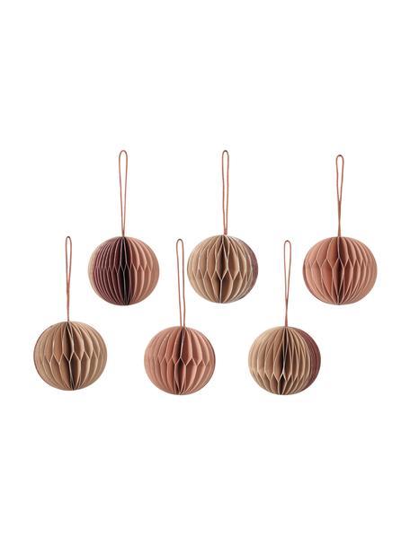 Komplet ozdób choinkowych Ball, 6 elem., Papier, Blady różowy, beżowy, Ø 5 cm