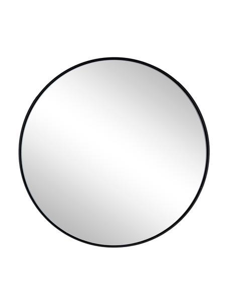 Specchio rotondo da parete con cornice in metallo nero Nucleos, Cornice: metallo rivestito, Superficie dello specchio: lastra di vetro, Nero, Ø 50 cm x Prof. 2 cm