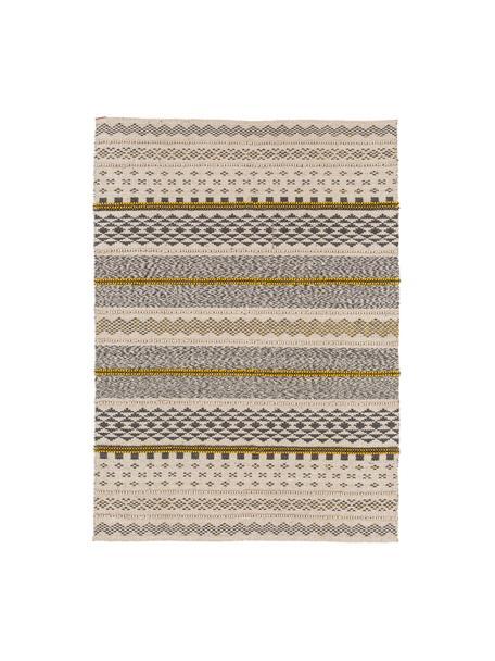 Alfombra de lana Nova, estilo étnico, 75%algodón, 25%poliéster Las alfombras de lana se pueden aflojar durante las primeras semanas de uso, la pelusa se reduce con el uso diario, Gris, mostaza, beige, An 140 x L 200 cm(Tamaño S)