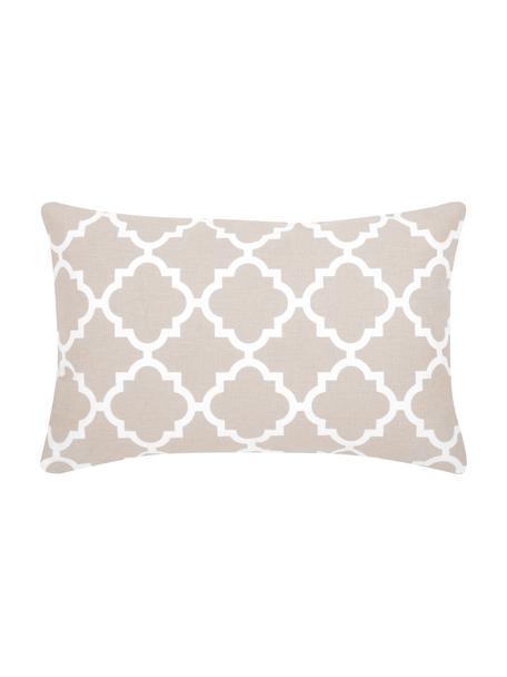 Kissenhülle Lana mit grafischem Muster, 100% Baumwolle, Beige, Weiß, 30 x 50 cm